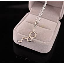 philna12 Novelty Estilo DNA dopamina bioquímica Molecule collar con colgante cadena accesorios