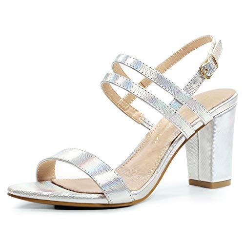 Allegra K Damen Peep Toe Slingback Blockasbtz High Heels Sandalen Silber 39 EU -