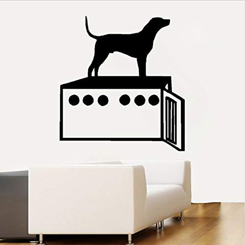 Topzt Wandaufkleber Hund Und Hundebox Persönlichkeit PVC Aufkleber Dekoration 50,9X55 cm (Vinyl-hundebox)