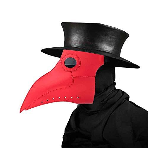 Womdee Plague Doctor Maske, Kunstleder, Schnabel, Punk, Halloween-Kostüm, -