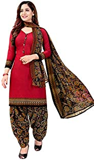Rajnandini Women's Red Crepe Printed Unstitched Salwar Suit Dress Material (Free S