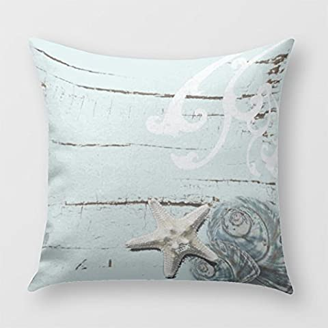 Romantic Elegant Blue Seashell Beach Decor Throw Pillow Cover for Sofa or Bedrooms