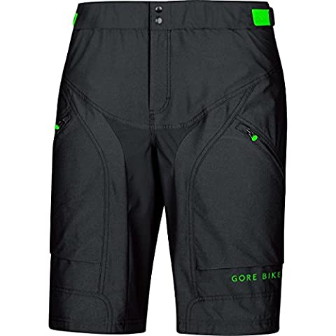 GORE BIKE WEAR Herren Mountainbike-Shorts, Knielang, Integrierte Innenhose, Sitzpolster, GORE Selected Fabrics, POWER-TRAIL Shorts+, Größe: M, Schwarz, (Mountainbike Radhose)