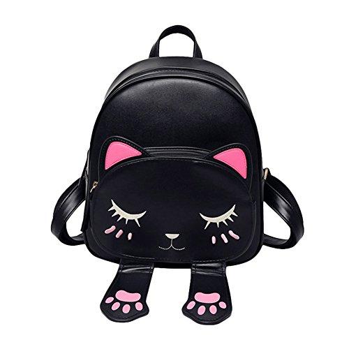 Espeedy Mode Frauen Cartoon Katze Rucksack Verstellbaren Riemen Leder Rucksäcke Für Mädchen Student Schulter Reisetasche
