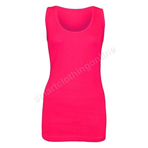 neuf femmes côtelé Sans manche Coton Extensible Grande Taille Débardeur Rose - Rouge cerise