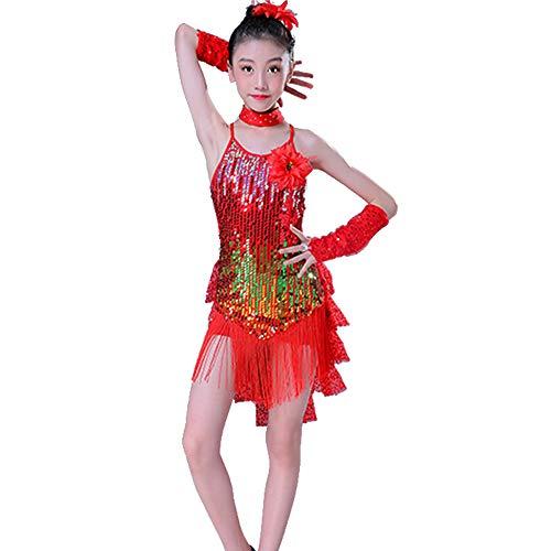 GOWE Mädchen Latin Dance Kostüme - Kindermode Pailletten Fransen Mesh Röcke Lyrical Kleid Zeitgenössisches Ballett Modern Latin Dance Performance Wettbewerb Kostüm, Rot/110 (Lyrical Dance Kostüm Kinder)