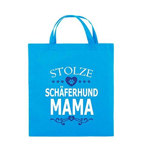 Comedy Bags - Stolze Schäferhund Mama - HERZ - Jutebeutel - kurze Henkel - 38x42cm - Farbe: Schwarz / Weiss-Neongrün Hellblau / Weiss-Royalblau
