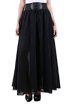 Raabta Fashion Women's Full Skirt (Black Skirt With Belt_L)