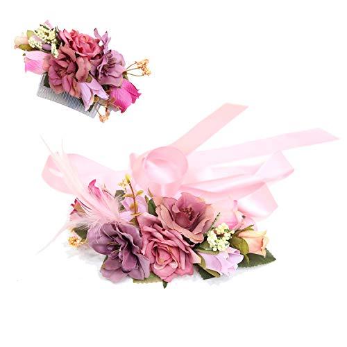 Ever Fairy Handgemachte Mode Blume Gürtel Set Haar Kamm für Frauen Mädchen Brautjungfer Kleid Satin Hochzeit Gürtel Schärpen Federgürtel Elastische Stoff Gürtel Zubehör ()
