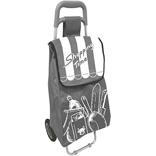 Promobo Chariot De Courses A Roulettes Design Shopping Time Gris Argenté 40L