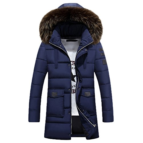 Zhhlinyuan Manteaux Men's Plus Thicken Winter Down Jacket Coat Hooded Outerwear Long Coat Dark Blue