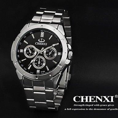 Schöne Uhren, Schlichtes Design Kleid chenxi Herrenuhren japanische Quarzwasserfest Silber Stahlband ( Farbe : Schwarz )