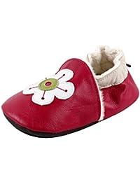 Chaussures souples bebe chaud chaussons en cuir doux enfant unisex 0 a 24 mois