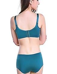 SDKIR-Anillo de acero no recopilar bra una pieza de ropa cómoda sin marca Viceministro de lactancia ajustar su ropa interior verde 75B+L hembra