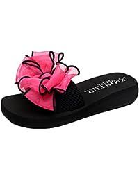 YOUJIA Mujer Boho Flores Zapatillas Verano Playa Plataforma Zapatos de cuña Chanclas