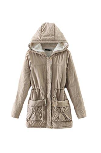 Les Garnitures D'hiver - Laine Cordon Poches À Capuche Manteau Jacket Parka Kaki