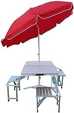 """Amaze""(Table+8' Umbrella+Umbrella Stand) 4 Side Chairs Folding Aluminium Picnic Garden Outdoor Farm house Restaurant Ice cream Parlour Food parlour Cafeteria Table with 8' Umbrella-RED"