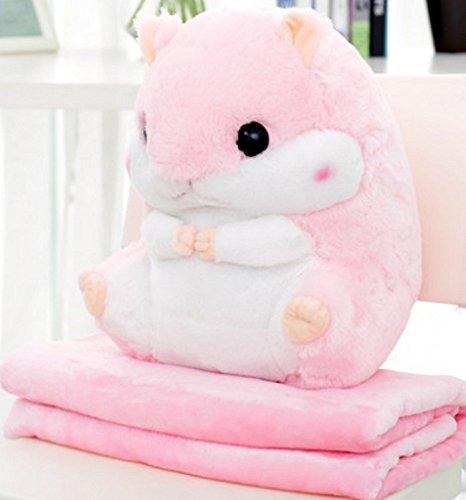 YunNasi 2 in 1 Schöner und Niedlich Plüschtier Hamster kissen mit Fleece Blanket Super Witziges und Süßes Geschenk für Kinder und Freundin 50cmX30cm (Pink)