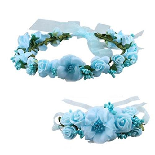 HENGSONG Festlich Blumen Fairy Blumenstirnband Armband Kopfschmuck Haarband Kopfband Kranz für Hochzeit Abendkleid Braut Brautjungfer (Blau 1)
