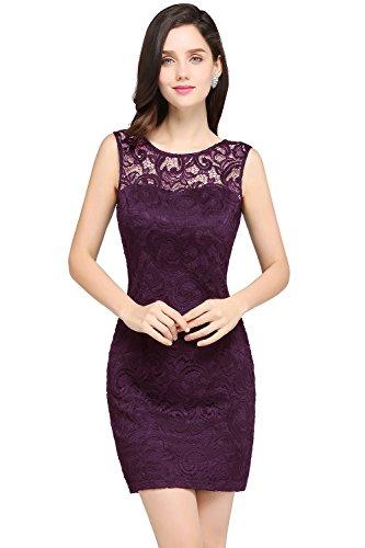 2017 Damen Elegant Kurz Abendkleider Partykleid mit feiner Spitzenstickerei Kurz Violett 34
