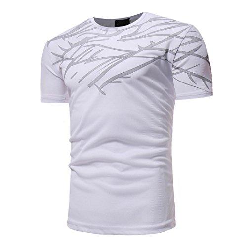ASHOP Herren Rundhals-Ausschnitt Kurzarm Logo Tee Größen M-3XL (XXL, Weiß)