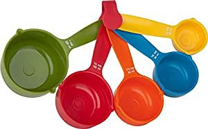 divinext Set of 5 Pieces Multicolor Kitchen Cooking Baking Measuring Spoons Cups - Imperial and Metric Measurers