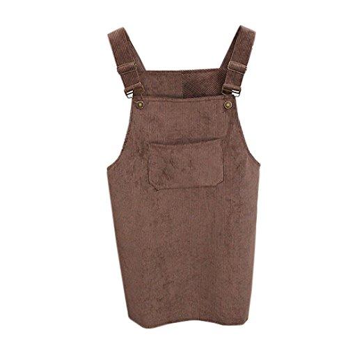 Kanpola Kleider Damen Herbst Cord Straps Kurze Tasche gerade Weste Rock Kleid -