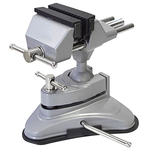 spares2go Multi Winkel Schwenkkopf Tisch Top Klemm-Schraubstock mit Saugfuß (70mm Kiefer)