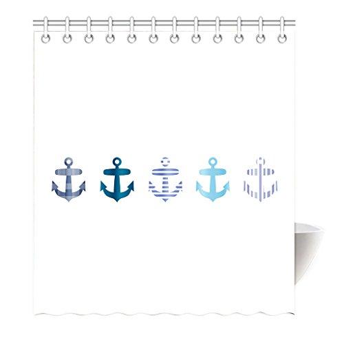 Preisvergleich Produktbild Violetpos Duschvorhang Anchor Collage Weiß Hochwertige Qualität Shower Curtain 120 x 180 cm