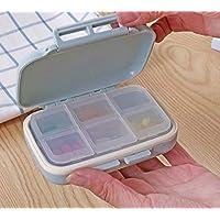 GOOTUOUOU Gootuouu Medikamentenbox mit 6 Fächern, tragbar, Kunststoff, für Reisen (blau), Plastik, blau, Approx... preisvergleich bei billige-tabletten.eu