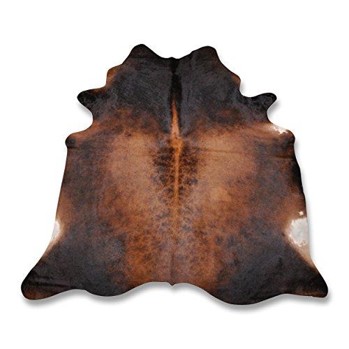 Premium Kuhfell Teppich aus Südamerika - 100% Naturprodukt - braun karamell L220 x B195cm