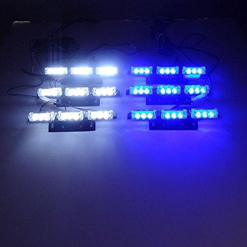 Blitzleuchten Weiße Blaue Und (Viktion wasserdicht 54 LED Blitzlicht Strobe Blitzleuchte LED Warnlicht Flashlight Auto Blitzlicht Leuchtmittel Warnleuchte (blau mit weiß))