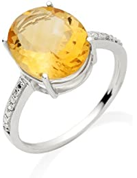Miore Damen-Ring 375 Weißgold Citrin und Brillanten