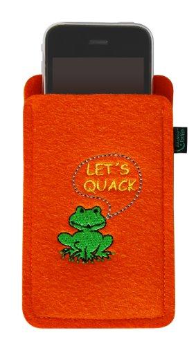 Custodia in feltro per iPhone 4/S, 3, rana–Let S QUACK, di alta qualità ricamato Filzfarbe orange Filzfarbe orange