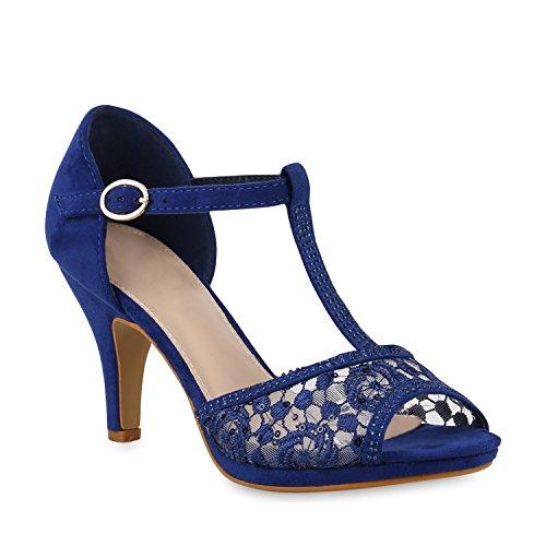 Stiefelparadies Damen Schuhe Sandaletten Riemchensandaletten Party High Heels Strass 153605 Blau Spitze 39 Flandell