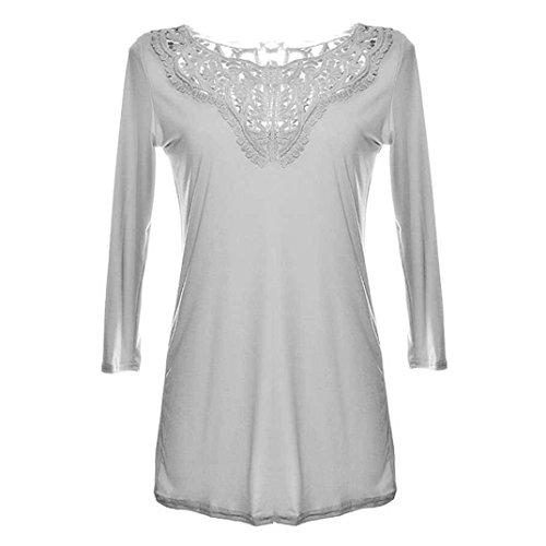 Camicetta donna, Tpulling Maglietta casuale della camicetta delle donne superiori del manicotto del manicotto lungo del merletto delle donne Gray