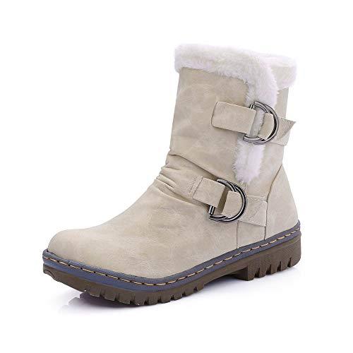 Stivali Donna Inverno Pelliccia Stivali da Neve Stringate Scarpe Snow Boots Caviglia Caldo Stivali Stivaletti (41 EU,Beige)