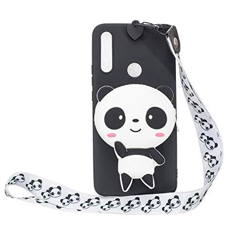 Miagon Silikon Hülle für Huawei P Smart Z,3D Süß Brieftasche Lager Tasche Design mit Halskette Kordel Schnur Handykette Necklace Band,Panda