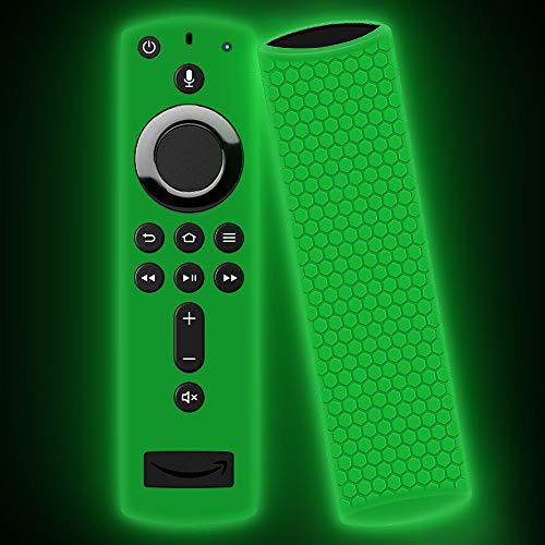 Remote Case/Cover for Fire TV Stick 4K,Oyrlize Full Body Protective Silicone Case Shockproof Flexible Anti-Lost Skin Alexa Voice Remote Covers for Fire TV Cube Fire TV Stick(2nd &3rd Gen) (Glowgreen) -
