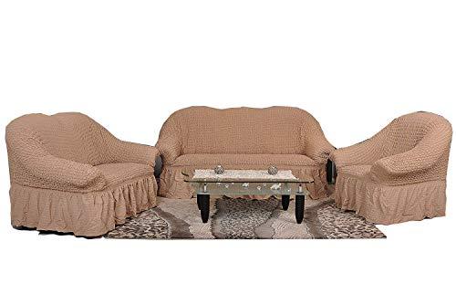 My Palace 3-Sitzer + 2-Sitzer + Sessel Sofabezug Sofahusse Sofaüberwurf 3 er Couchbezug Sofaschoner 3 teilig Couchschoner. Schutzbezug. Sofa Bezug Set Farbe: Bone/Cappuccino/ockerbraun/Sand -