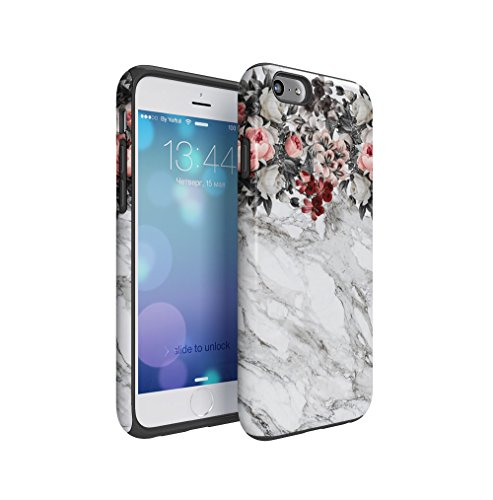 Pink Flowers Boquet Light Grey Marble Stone Apple iPhone 6 / iPhone 6S Silicone Inner & Outer Hard PC Shell 2 Piece Hybrid Armor Case Cover (Flower Pink Jewel Snap)