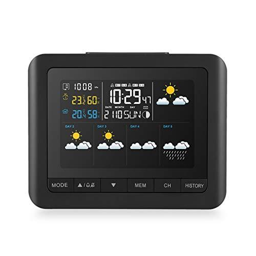 Funk-Wetterstation Vollfarbdisplay Digitales barometrisches Hygrometer-Feuchtethermometer mit Wetteruhren (Color : Black, Größe : 16.5 * 3 * 13cm)
