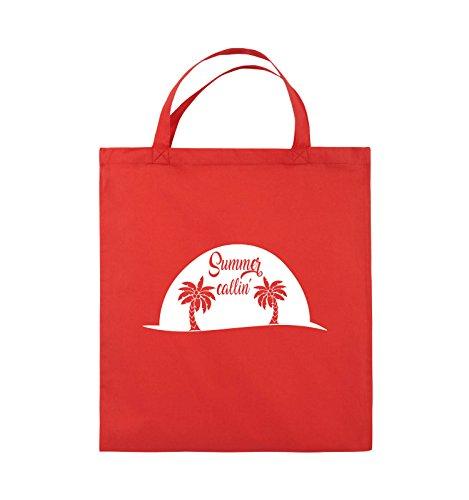 Comedy Bags - Summer callin - PALMEN - Jutebeutel - kurze Henkel - 38x42cm - Farbe: Schwarz / Pink Rot / Weiss