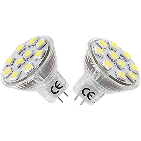 LE Pack de 2 bombillas LED, MR11, casquillo GU4.0, consumo 1.8W, equivalente a bombillas halógenas de 20W, 165lm, 12V CA/CC, apertura flood 120°, luz diurna (6000K), bombilla