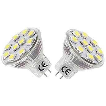 LE Lot de 2 Ampoules LED 1.8W GU4.0 MR11, Équivalente à 20W Ampoule Halogène, 12 V AC/DC, 165lm, 120° Larges Faisceaux, 6000K Lumière Blanc du Jour, Culot GU4