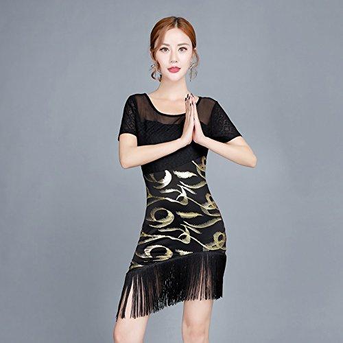 (Wanson Classic Latin Dance Kleid Kostüm Latin Dance Praxis Kleidung Frauen Leistung Rock Dance Show Kostüm,L)