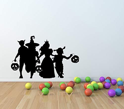 haotong11 Süßes oder Saures Halloween Kostüme Silhouette WANDKUNST Aufkleber Vinyl Aufkleber GESTANZT für KINDERZIMMER Schablone Mural Home 22 x 33 Zoll