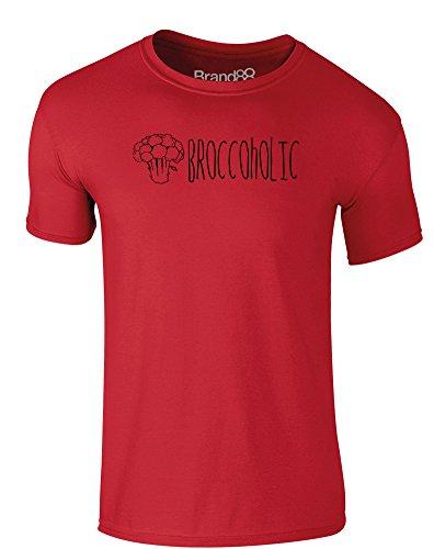 Brand88 - Broccoholic, Erwachsene Gedrucktes T-Shirt Rote/Schwarz