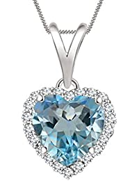 "Silvernshine 7mm Topaz & Sim Diamond Halo Heart Pendant 18"" Chain In 14K White Gold Fn"