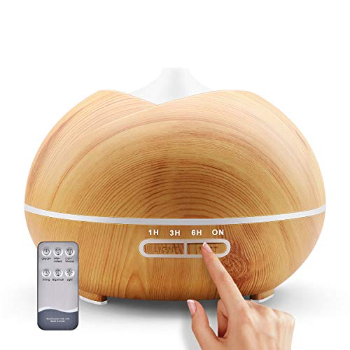 LXXTI Diffusore per Aromaterapia 400 ml, Umidificatore a Ultrasuoni con Aroma, Portatile, 7 luci LED, Apegnimento Automatico Senza Acqua, Diffusore di Oli Essenziali, per Spa, Yoga, casa, Ufficio